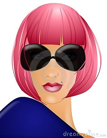Woman In Pink Wig Sunglasses