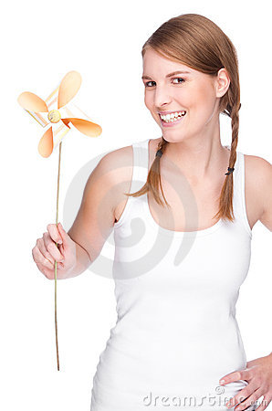 Woman with pinwheel