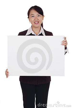 Woman with placard