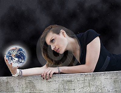 Woman with planet