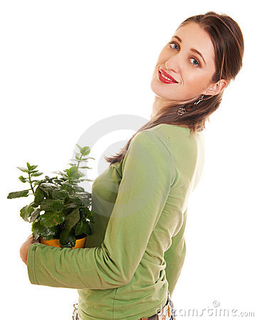Woman with plant