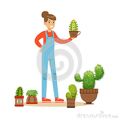 Woman planting succulents. Hobby or profession olorful character vector Illustration Vector Illustration