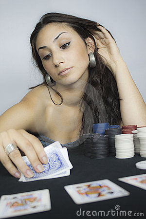 Woman play cards