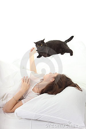 Woman play with a cat