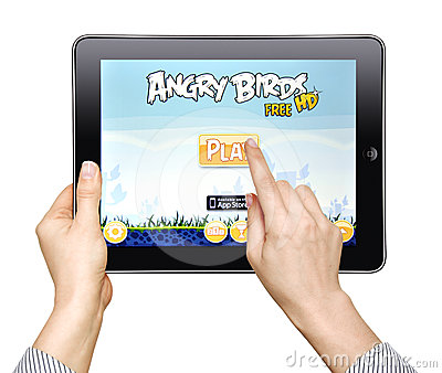 Woman  play in the game Angry Birds Editorial Photo