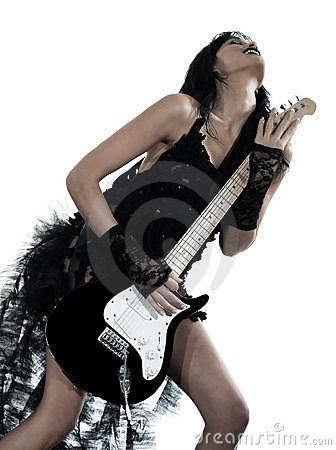 Woman playing electric guitar player