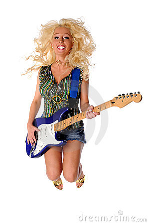Woman Playing Guitar Jumping