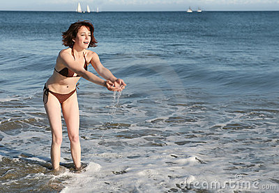 Woman playing in sea