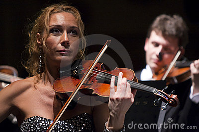 Woman playing the violin at the Vienna Ball Editorial Photo