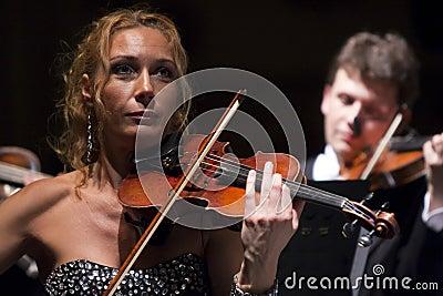 Woman playing the violin at the Vienna Ball Editorial Photo