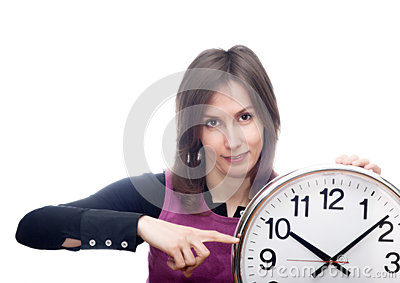Woman pointing time isolated white