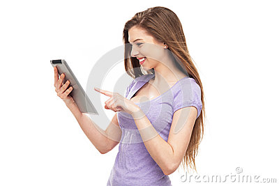 Woman pointing at digital tablet