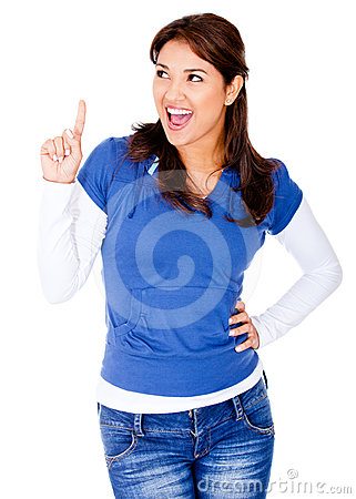 Woman pointing an idea