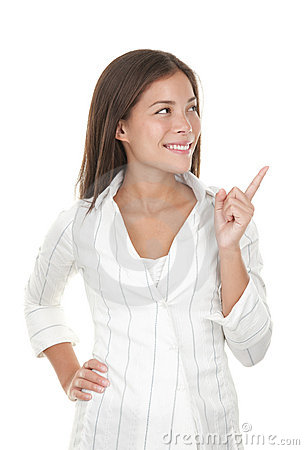 Woman pointing and looking to the side