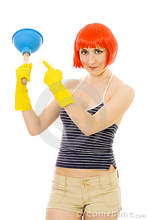 Woman pointing at plunger