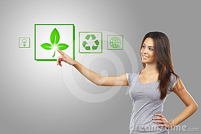 Woman pointing recycle symbol