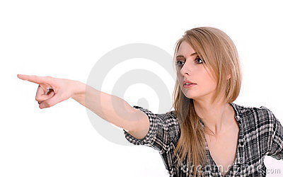 Woman pointing or showing direction