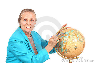 Woman pointing to globe