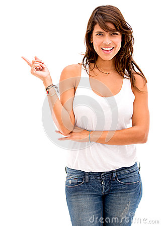 Woman pointing to the side