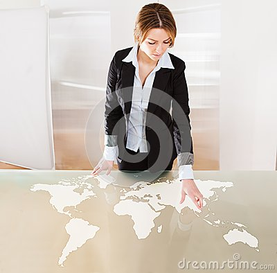 Woman Pointing On Transparent Screen