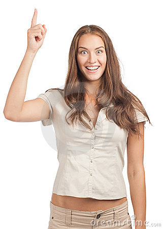 Woman pointing up and smiling