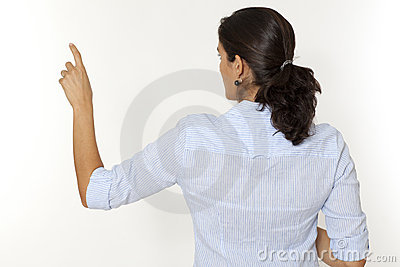 Woman pointing on virtual screen