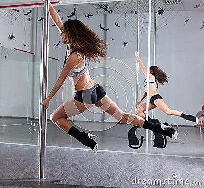 Woman and pole-dance