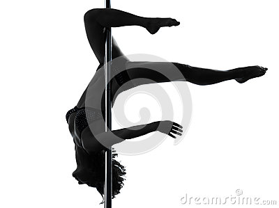 Woman pole dancer scorpion posture silhouette