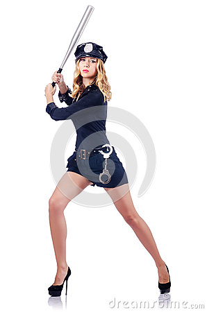 Woman police with bat