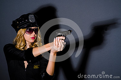 Woman police in  concept