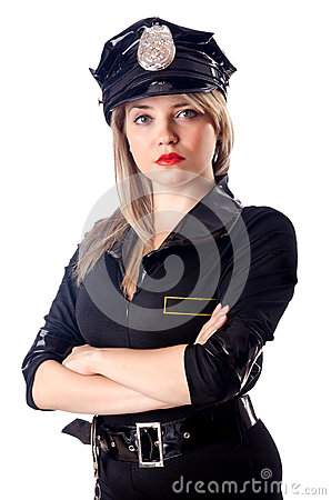 Woman police isolated