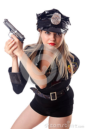 Woman police on white