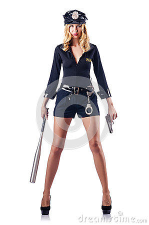Free Woman Police With  Bat Stock Photography - 26841882