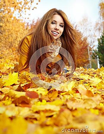 woman portrait in autumn color