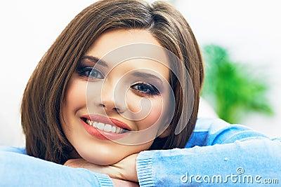 Woman portrait. Close up face.