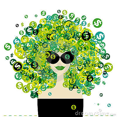 Woman portrait with dollar signs hairstyle