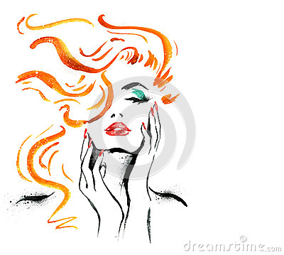 Woman portrait with hand .Abstract watercolor. Fashion illustration. Red lips and nails watercolor painting. Cosmetics advertiseme Cartoon Illustration