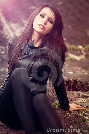 Woman portrait with lens flare effect