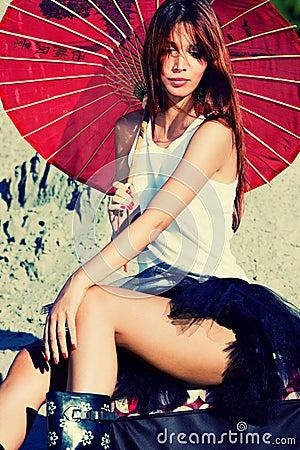 Woman portrait with parasol