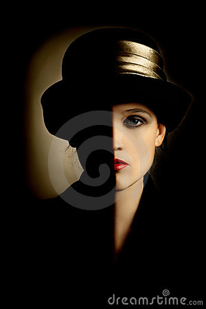 Woman portrait retro hat