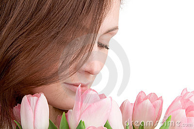 Woman portrait with tulips