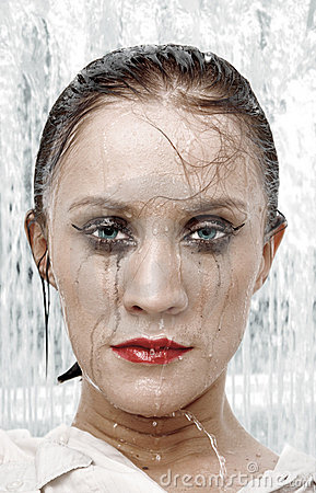Woman portrait under shower