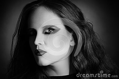 Woman portrait in vamp gothic black style