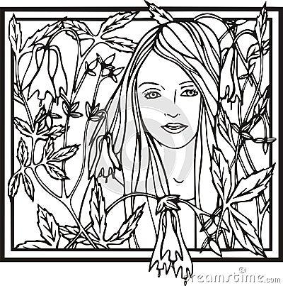 Woman portrait, vector