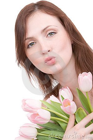 Free Woman Portrait With Bouquet Of Tulips Stock Images - 2255044