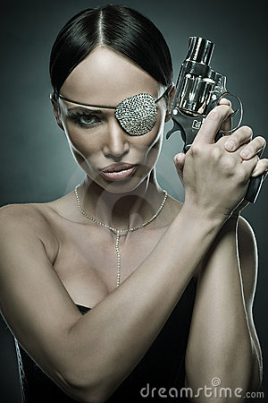 Free Woman Portrait With Revolver Stock Image - 14571851