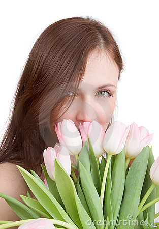 Free Woman Portrait With Tulips Royalty Free Stock Images - 2497199