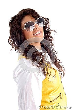 Woman posing with eyeglasses
