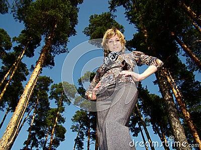 Woman posing outdoors