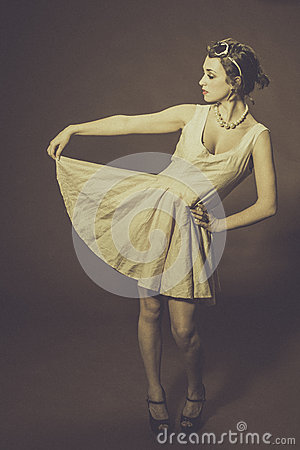 Woman posing in party dress